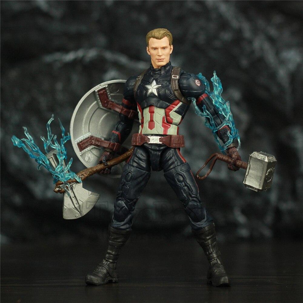"""Image 3 - Avengers Endgame Captain America 6"""" Action Figure KOs Marvel Legends Custom Steven Rogers Mjolnir Worthy Captain Head Doll ToysAction & Toy Figures   -"""