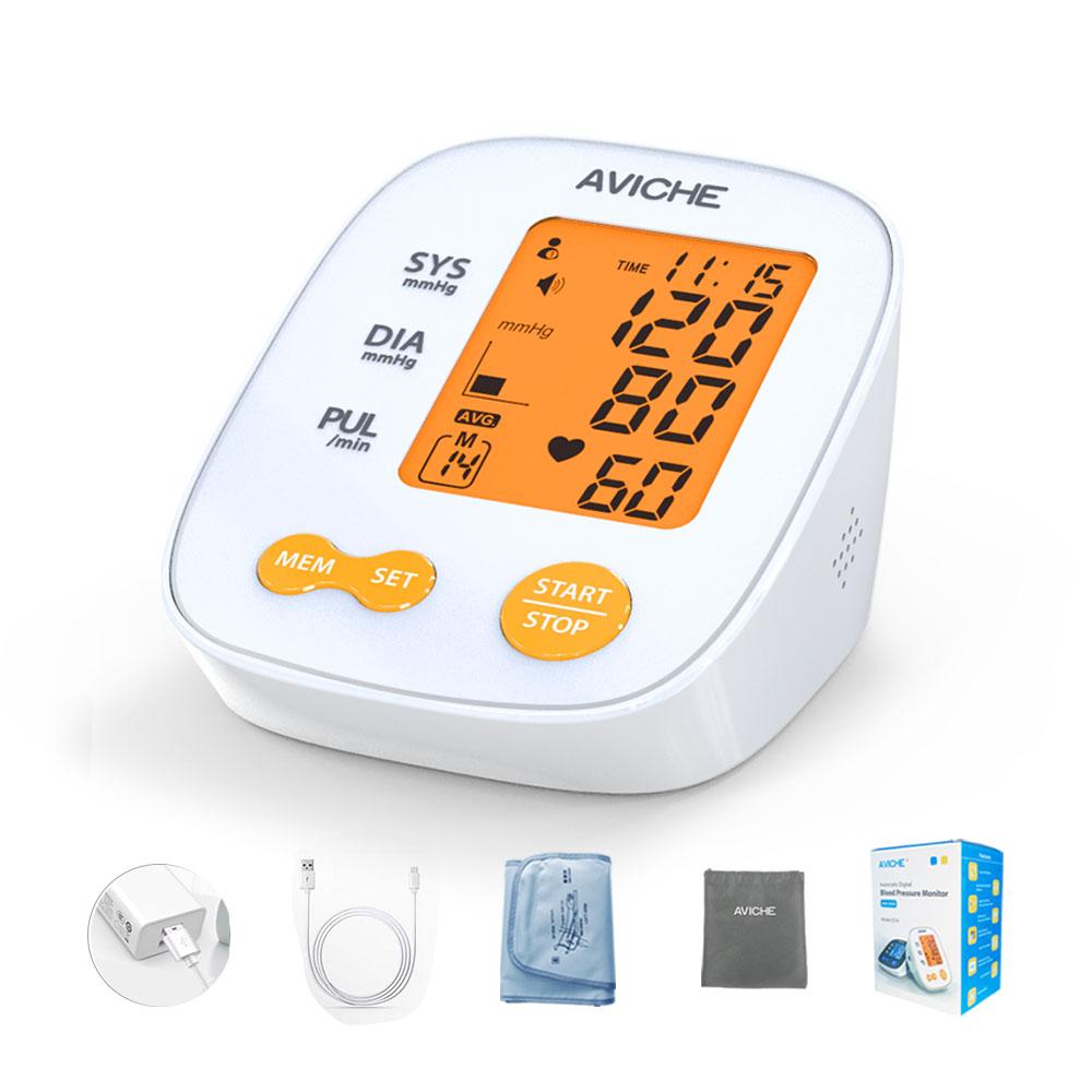 AVICHE Auto Digitale Arm Blutdruck Monitor Große Hintergrundbeleuchtung LCD Display Reden Pulse Rate 22-42cm BP Manschette maschine