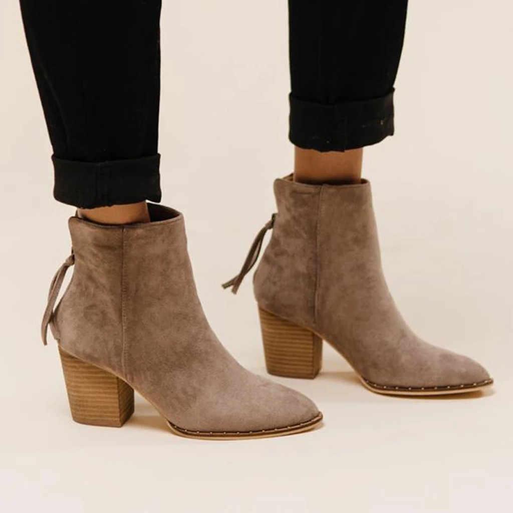 Kadın kış ayakkabı moda bayanlar ayak bileği kısa çizmeler katı tek ayakkabı sivri burun siyah kahverengi haki süet patik Bota Feminina