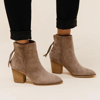 Women Winter Shoes Fashion Ladies Ankle Short Boots Solid Single Shoes Pointed Toe Black Brown Khaki Suede Booties Bota Feminina black khaki knitted elastic socks boots thick high heel ankle boots women 2019 pointed toe elegant short booties for ladies