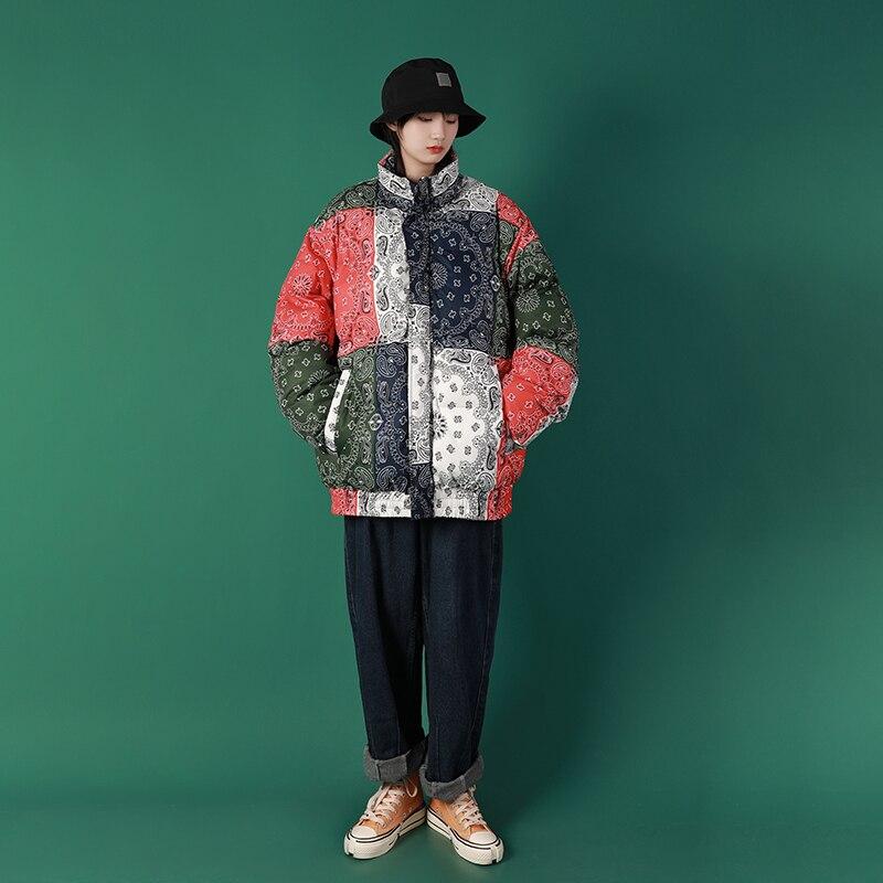 Куртка с узором пейсли, парка, Harajuku, пэчворк, цветная, Мужская зимняя ветровка, уличная одежда, стеганая куртка, пальто, теплая верхняя одежда, 2019 - 3