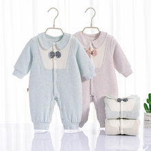 Clothes Clip Cotton-padded Clothes Infant Thin Cotton Onesie Newborns Crawling Suit 0-1 Years Old Baby Rompers hai li rong Autum(China)