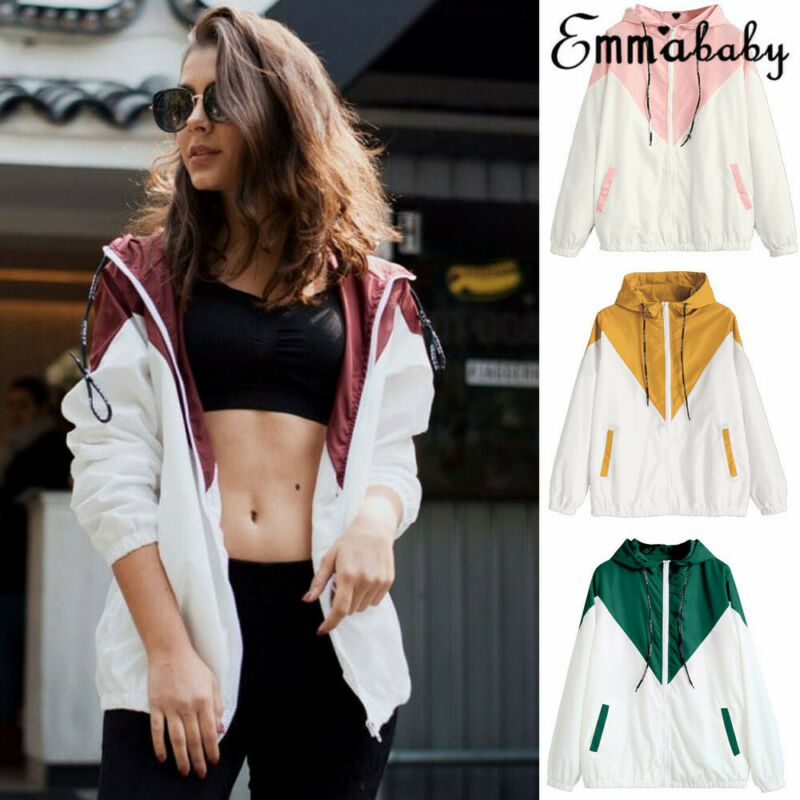 Women Hoodie Hooded Jacket  Zipper Long Sleeve Casual Sweatshirt Jumper Pullover Thin Coat