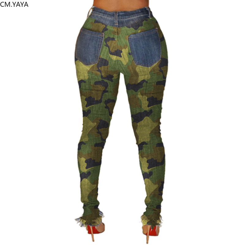 2019 New Autumn Winter Female Denim Pants Women Skinny Hole Spliced Camouflage Print Jeans Sexy pencil Bandage Trousers HSF2096 2