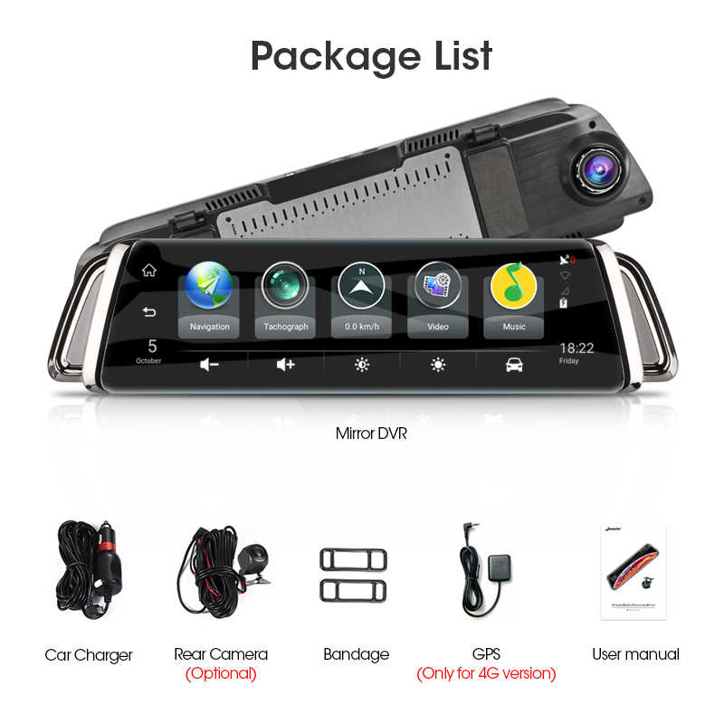 "Jansite 10 ""Touch Screen 3G 4G Wifi Smart Auto Dvr Android Streamen Media View Mirror Dual Lens reverse Afbeelding Gps Navigatie Adas"