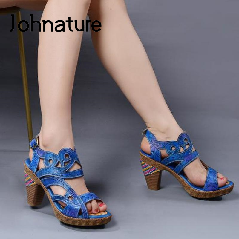 Johnature High Heels Retro Ladies Sandals Women Shoes 2020 New Spring Summer Genuine Leather Hand-painted Sewing Women Sandals