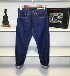 2020 Evisu New Breathable Top Quality Fashion Men Navy Blue Pants Warm Jeans Straight Leisure Printing Cotton Men Trousers 6190