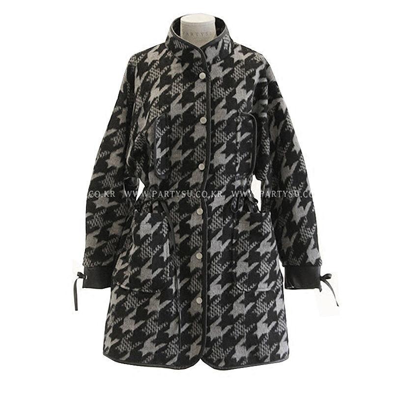 New Chic Korean Woolen Coat Female Houndstooth Long Retro Lattice Blend Jacket Winter Fashion Flannel Loose Casual Outwear f1555 - 5
