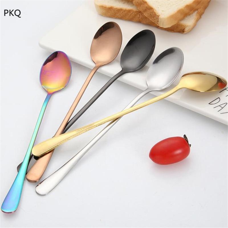 Long Handle Stir Spoon Stainless Steel Tableware Dinnerware Dessert Scoop