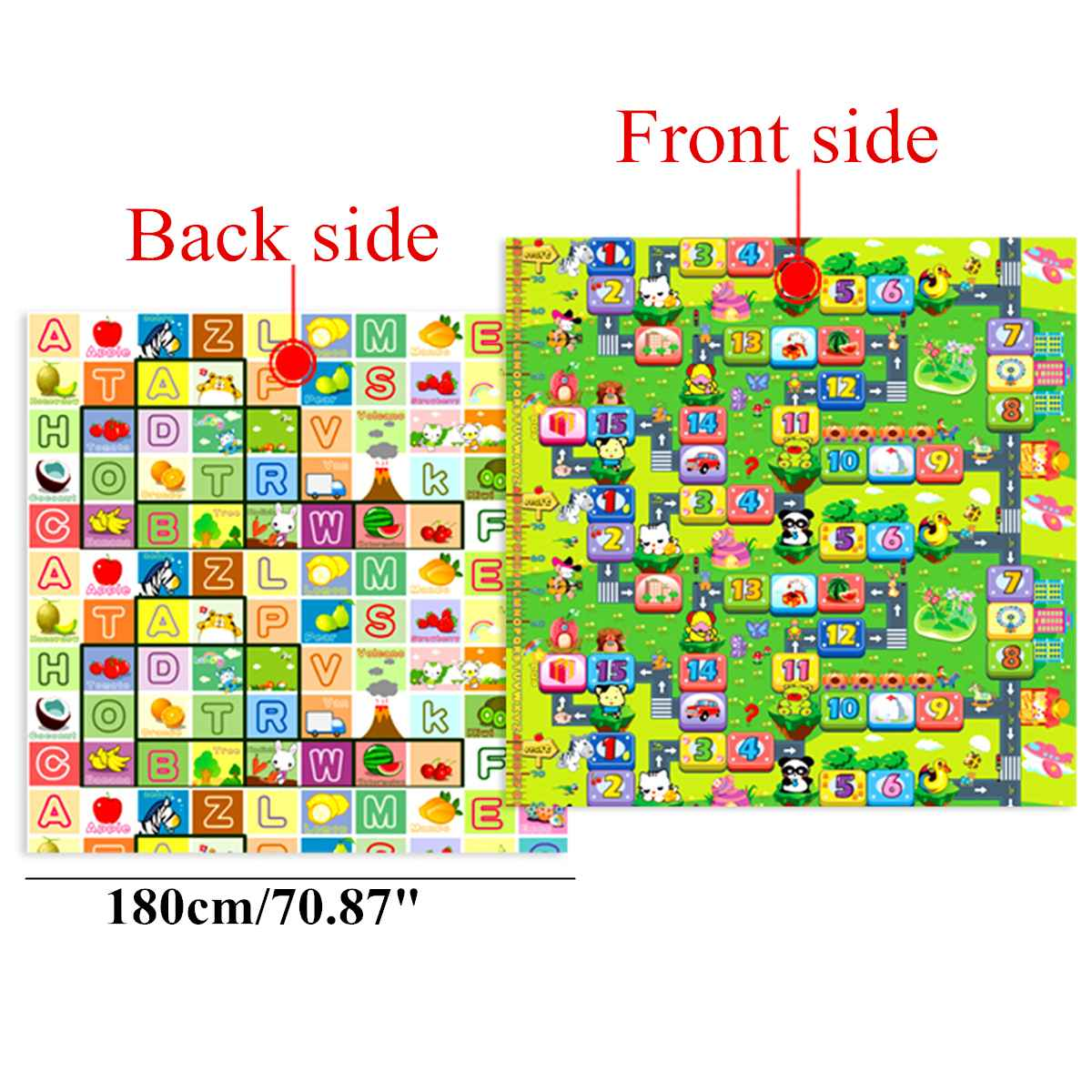 2x1.8M Play Mat Thicken Crawling Mat Double Surface Baby Carpet Rug Animal Car For Children Game Pad Foldable Double Sides