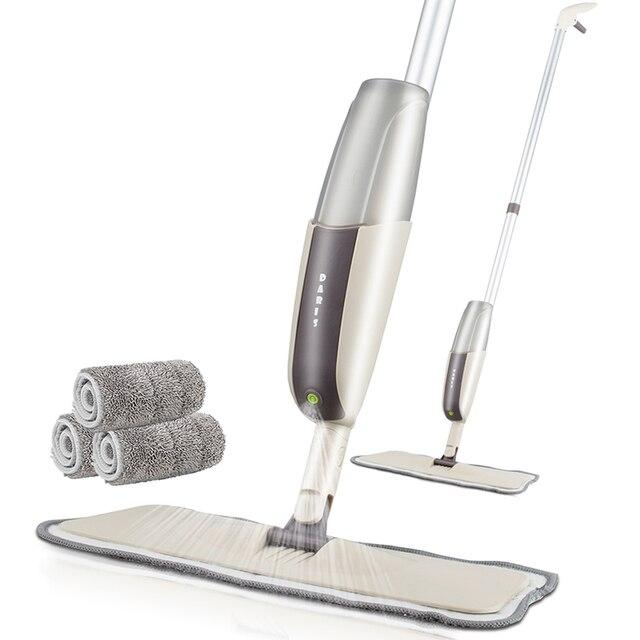 สเปรย์Mopสำหรับไม้เนื้อแข็งชั้นMopไมโครไฟเบอร์เครื่องซักผ้าPadสำหรับQuick Cleanerพร้อมเติมน้ำขวด