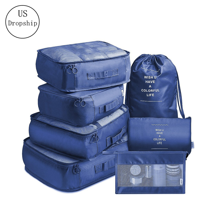 New 7-Piece Set Travel Storage Clothes Underwear Organizer Packing Cube Bag Travel Makeup Bag Shoes Bag Travel Accessories
