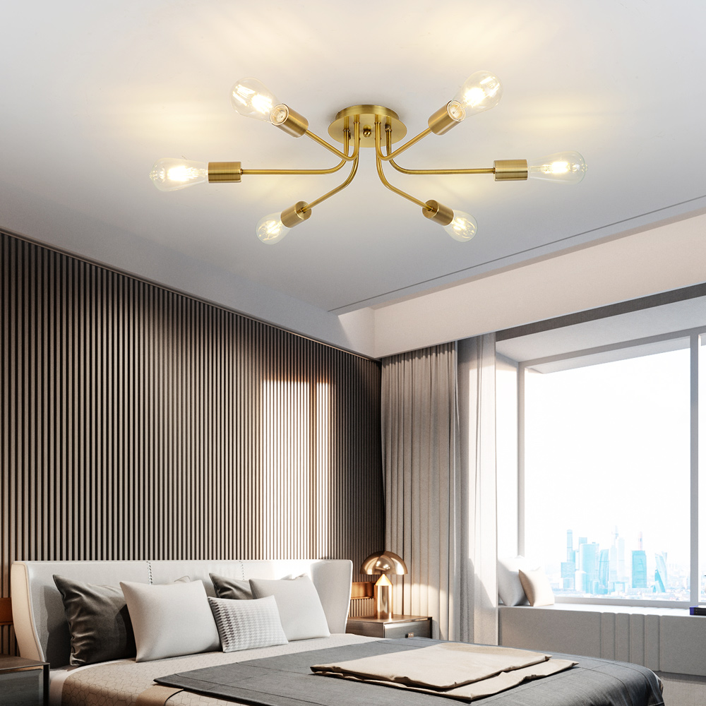 Modern Sputnik Chandelier Mid Century Ceiling Light Semi Flush Mount Light Fixture Nordic Contemporary Brushed Nickel Brass lamp