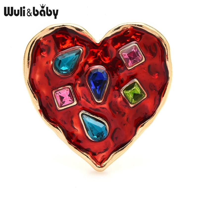 От \ T Wuli & baby Броши с сердечком для женщин унисекс Стразы 2-х цветный Красный значок с сердцем, брошь с застежкой, подарки