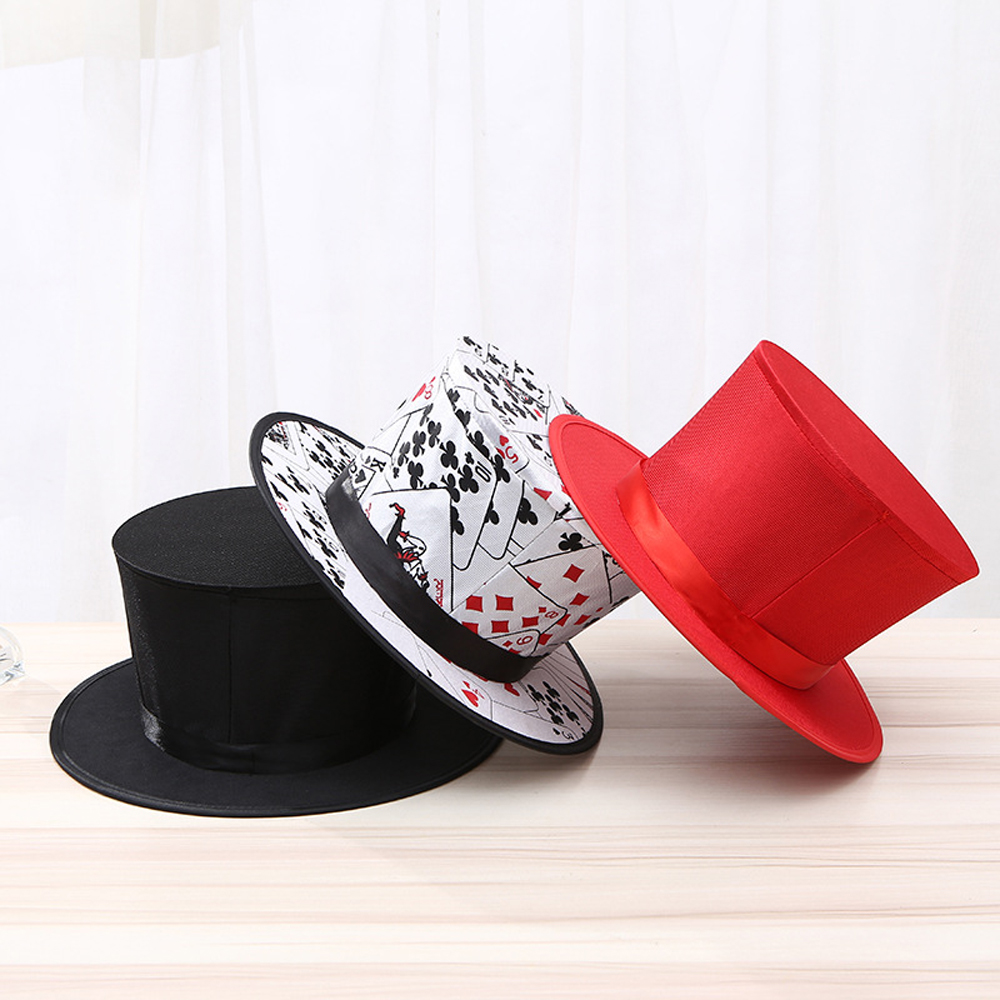 Folding Top Hat Spring Magic Tricks Black Playing Card Pattern Appearing/Vanishing Objects Hat Toys For Kids Stage Accessories