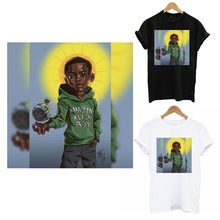 Black Boy Iron On Patches For Clothing DIY Thermal Sticker On Clothes Kid T-shirt Hooides Fashion Boy Patch Decoration Applique
