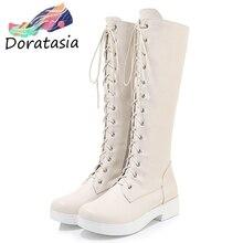 DORATASIA New 33-43 Elegant lace-up Platform mid-calf Riding Boots Women 2019 Winter Black Add Fur Boots Casual Shoes Woman стоимость