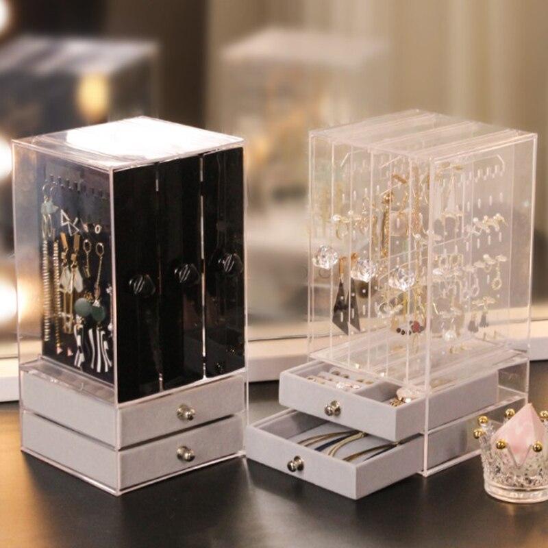 Jewelry Box Earrings Storage Box Organizer Jewelry Drawer Display Rack Organizador Necklace Jewelry Watch Cabinet Plastic
