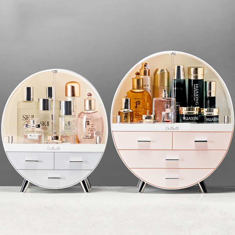 Circular Large Capacity Dust-proof Transparent Double Open Door Cosmetics Receiving Box Household Jewelry Dressing Table
