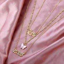 JJFOUCS – collier multicouche en acier inoxydable pour femmes, couleur or, lion, lettre papillon, pendentif, chaîne de clavicule, bijoux, 2000
