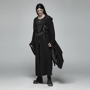 Image 4 - PUNK RAVE Mens Punk Retro Dark Japanese Long Jacket Stripe Metal Buckle Decoration Large Sleeves Loose Hooded Trench Coat