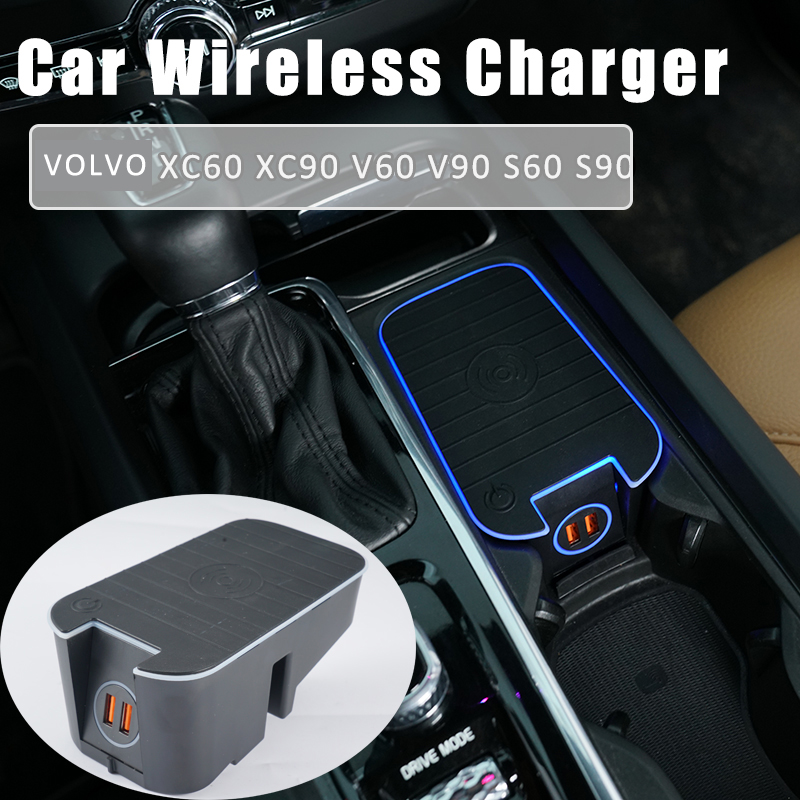 For volvo s60 xc60 s90 xc90 v60 v90 wireless charger car charger mobile phone fast charging 2016 2019 QC3.0 quickcharger
