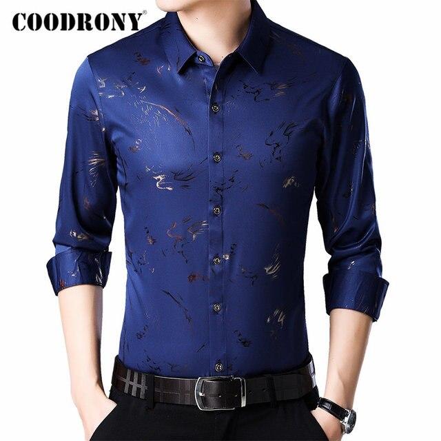 COODRONY מותג גברים חולצה ארוך שרוול כותנה חולצה גברים סתיו Mens מזדמן חולצות Streetwear אופנה עיצוב Camisa Masculina 96069