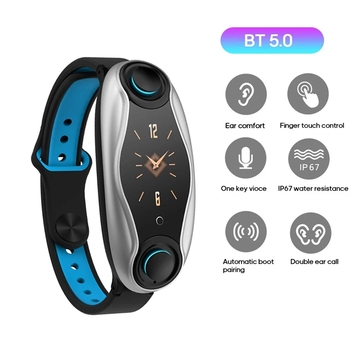 T90 Smart Bracelets BT5.0 Earphone 0.96-Inch TFT Screen Smart Watch IP67 Water Resistance Heart Rate Bloods Pressures Monitoring