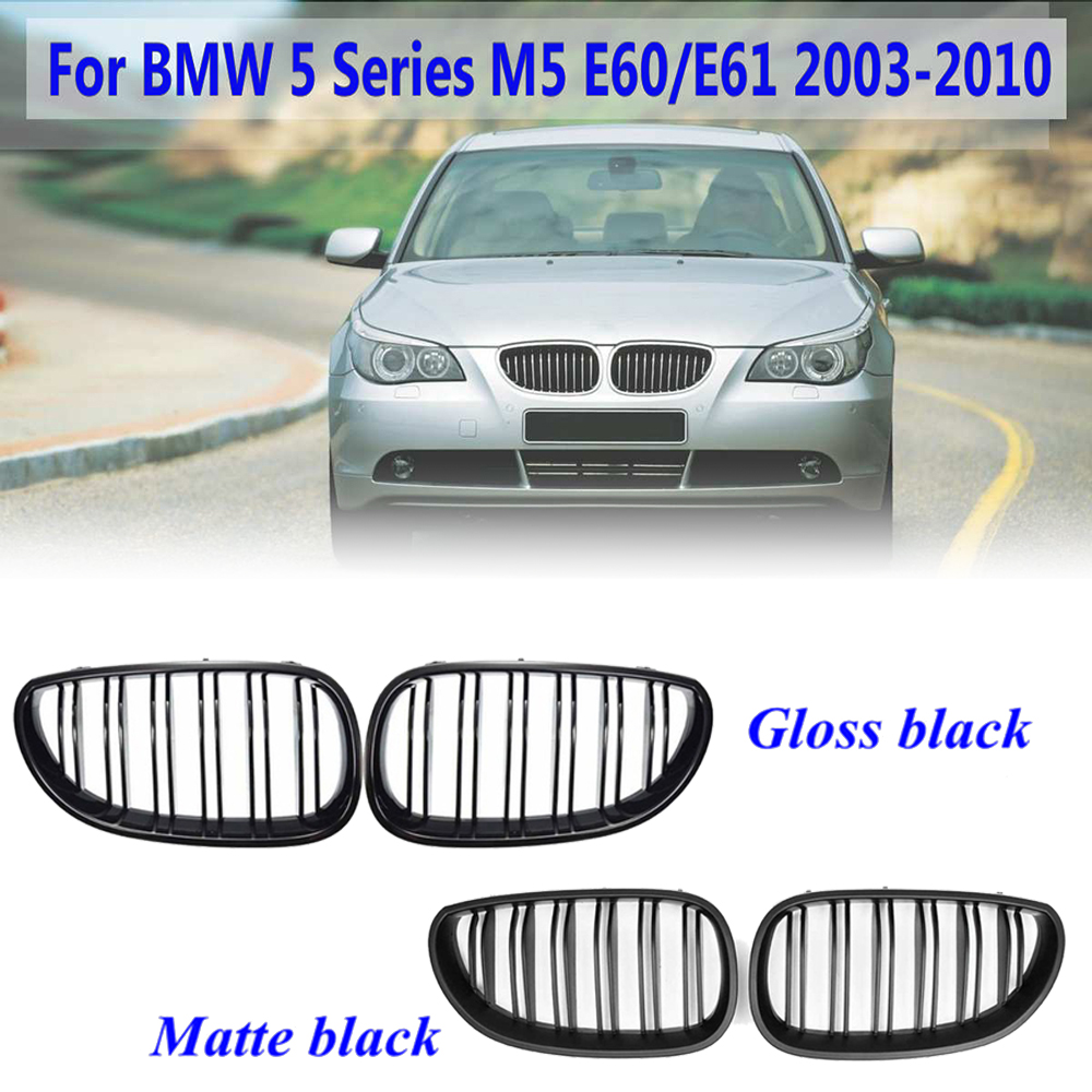 2pcs Car Front Matte/Gloss Black Sport Grill Kidney Grille for <font><b>BMW</b></font> <font><b>5</b></font> <font><b>Series</b></font> M5 <font><b>E60</b></font> / E61 2003-2010 car Racing Grills stylish image