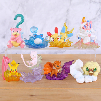 8Pcs/Set Pika Marill Vulpix Plusle Minun Whimsicott Kong idiot Action Figure Dolls Toys Gifts for Boys and Girls Kids image