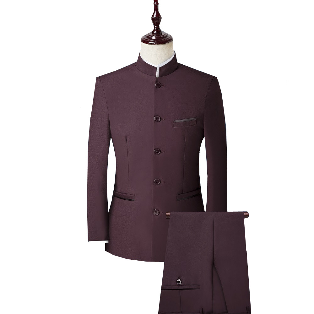 3 Piece Men Suit Chinese Style Stand Collar Suit Male Wedding Groom Slim Fit Plus Size 4XL Blazer Set Tuxedo(Jacket+Pant+Vest)