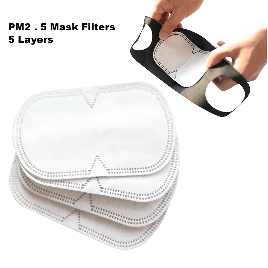 10/20/30PCS PM2.5 Anti Haze Mouth Mask Filter-slice 5-Layers Non-woven Face Mask Gasket Reusable Windproof Running Bike Facemask