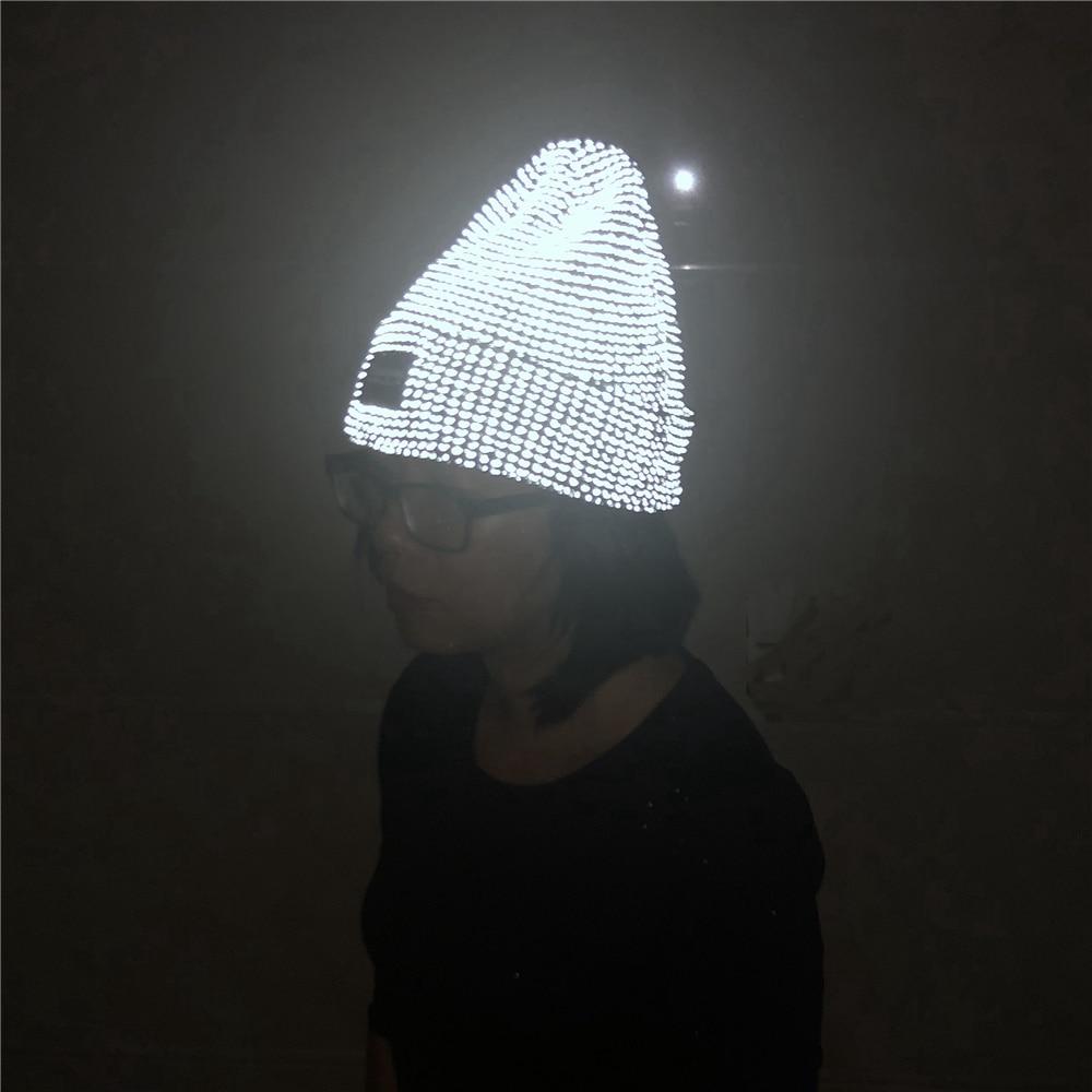 2021 New Reflective Beanie Hat Women Skullies Autumn Winter Cap Fashion Female Bonnet Warm Caps Brand Knitted Hats for Men Gorro