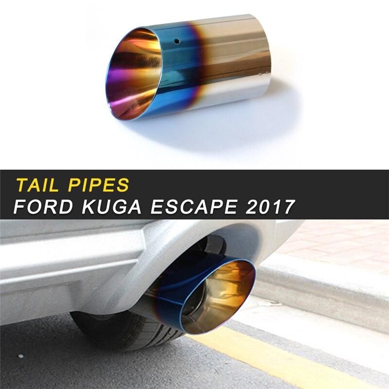 Tuyaux d'échappement d'échappement silencieux cadre couvercle garniture autocollant accessoires extérieurs pour Ford KUGA Escape 2017 2018 style de voiture