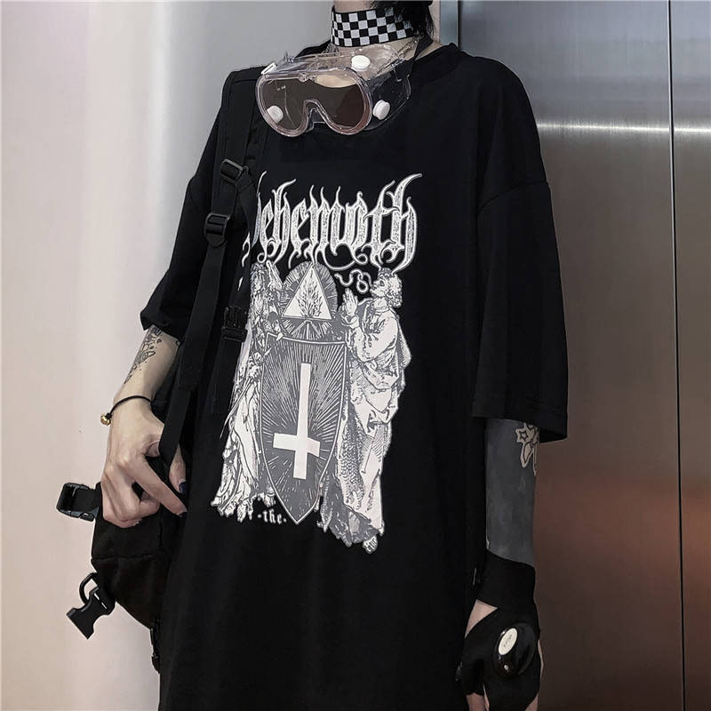Hip Hop O-neck Tshirt Streetwear Men Women Japanese Cool Punk Print Loose Short T Shirt Men Summer Half Sleeve T Shirt Funny