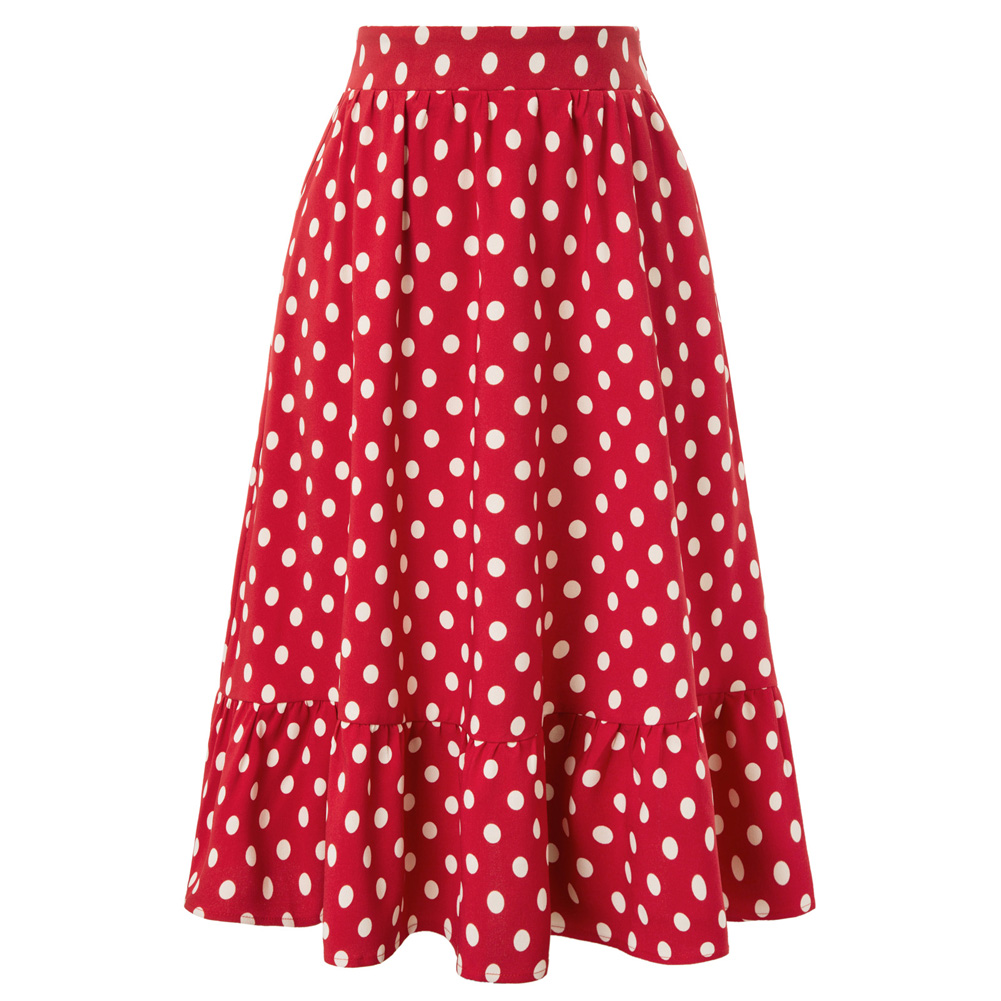 BP Women's Vintage Polka Dots Elastic Waist Flared A-Line Skirt With Pockets Ladies Fashion Skirt