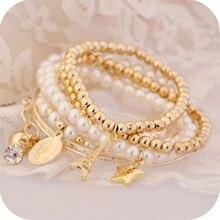 Chenfan корейский Модный жемчужный браслет звезда трехслойный