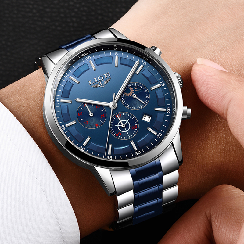 2019 New Watches Mens LIGE Top Brand Analogue Quartz Clock Stainless Steel Waterproof Luminous Sport Watch Men Relogio Masculino