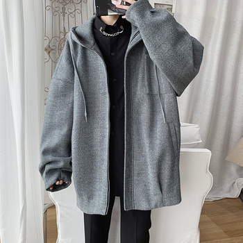 2020 Spring And Autumn New Retro Korean Loose Jacket Fashion Casual Solid Color Hooded Shirt Gray / Dark Gray / Coral Red M-2XL
