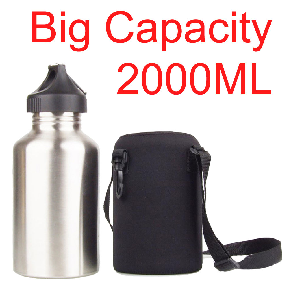 2000ML Sport Water Bottle Set For Camping Hiking Bicycle Cycling Wide Mouth Drink Jug With Neoprene Carrier Insulated Cover Bag