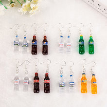 Женские серьги подвески в виде бутылки с водой 1 пара