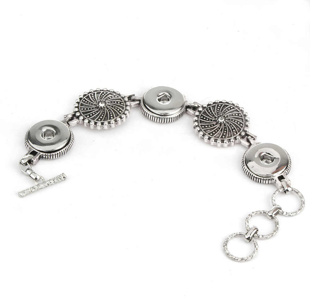 Nueva pulsera broche de joyería con diamantes de imitación de cuero a presión para mujeres y hombres