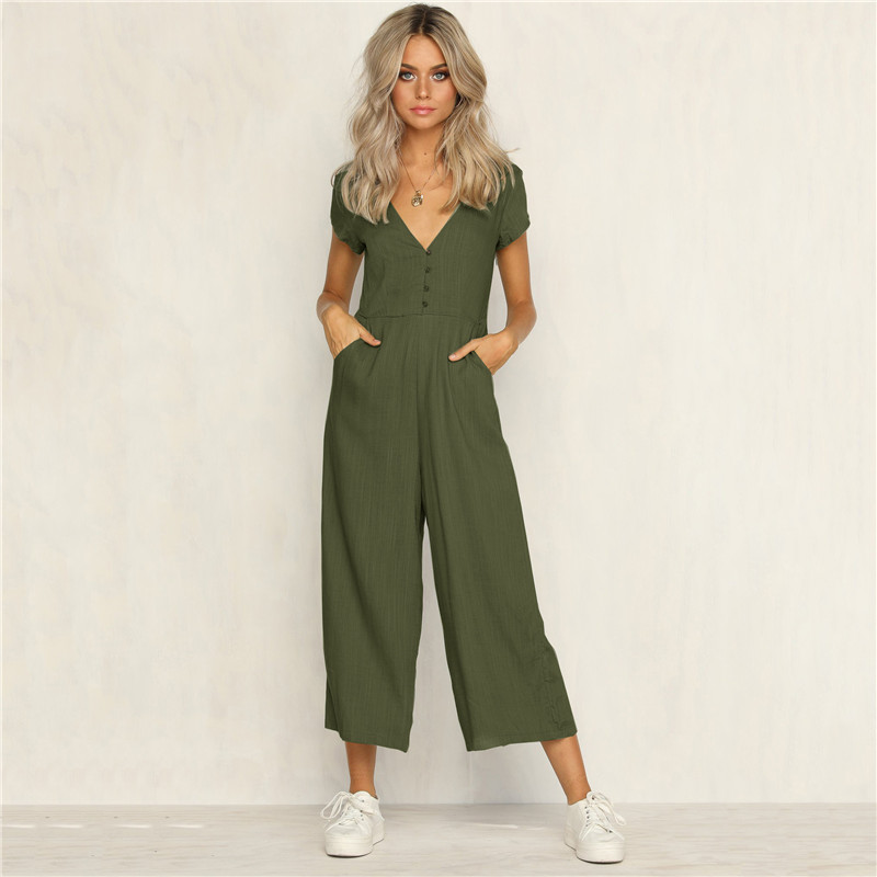 Women Deep V Neck Jumpsuit Romper Summer Strapless Maxi Jumpsuits Holiday Playsuit Ladies Long Beach Solid Backless Jumpsuit