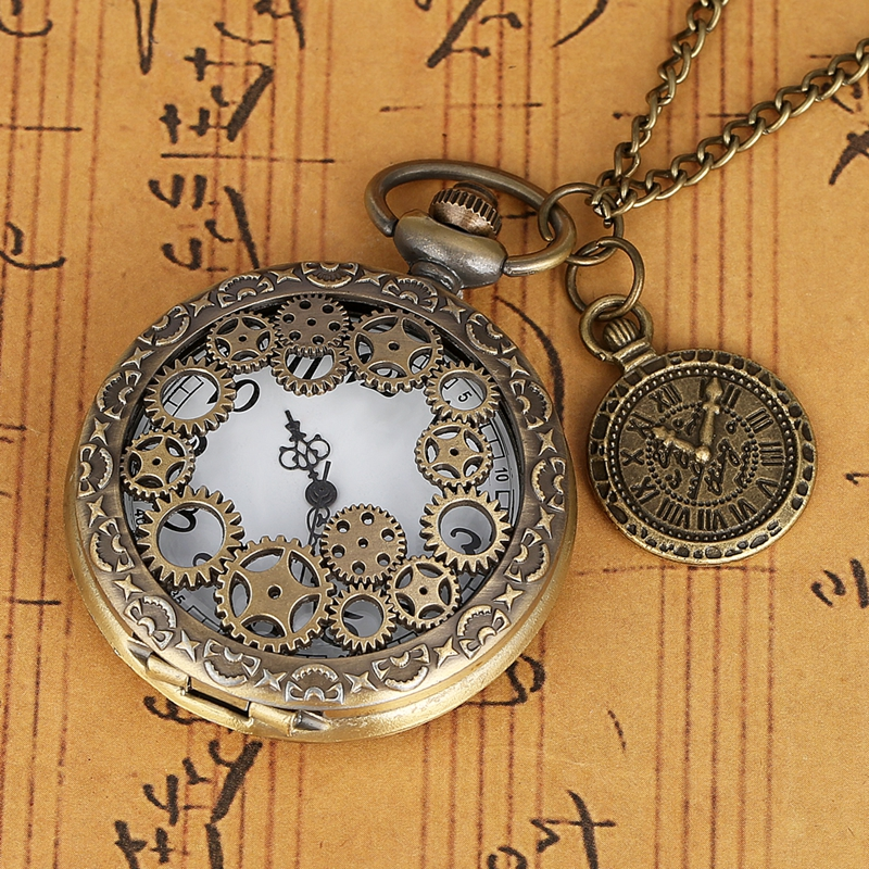 Copper Steampunk Necklace Pendant Clock Bronze Hollow Gear Quartz Pocket Watch Vintage Antique Chain Men Women With Accessory