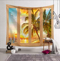 Wall Hanging Blue Sea Nature tapestry Beach Scenery Like Outside the Window Wall cloth tapestries 200x150cm Large decor Blanket