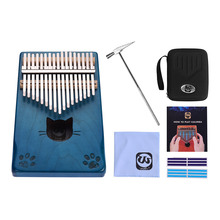Stickers Tuning-Hammer Mbira Thumb-Piano Kalimba Wood Musical Portable 17-Key with Carry-Bag