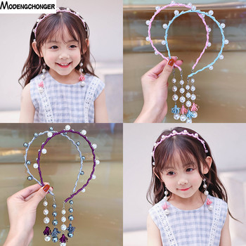 1PC Simple Hair Band Female Fake Earrings Tassel Hairpin Bezel Sweet Rhinestone Headband Girls Childs Clip Accessories