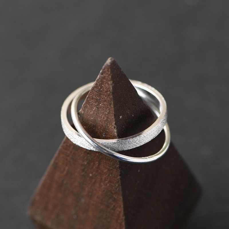 BALMORA الأصلي 925 الاسترليني خاتم مصمم من أجزاء متراصة للنساء الفتيات بسيطة ميدي المفصل خواتم مزدوجة خمر مجوهرات الأزياء Anillos