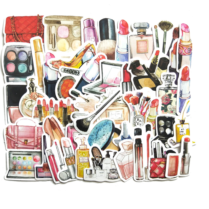 45pcs Hand Drawing Watercolor Beauty Cosmetics Sticker /Lipstick Decoration Notebook Planner Scrapbooking/DIY Paper