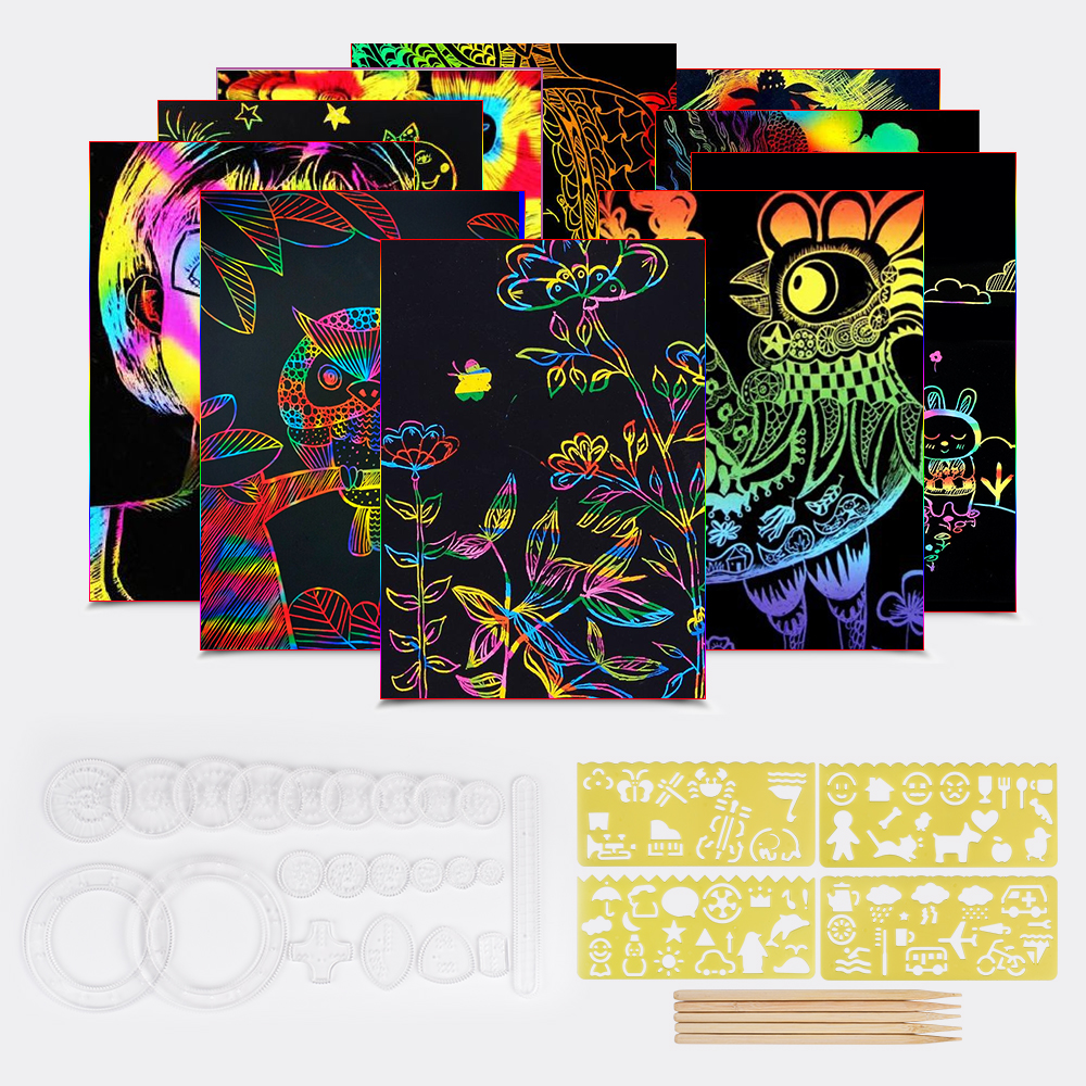 50 Sheets Scratch Paper Art Set Rainbow Magic Color Creative Craft Kit With Graffiti Stencils Spirograph Drawing Toys For Kids